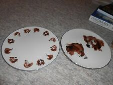 Pair of Isaac Mizrahi Live dog portrait plates