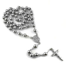 "MEN's Stainless Steel 8mm 32"" Catholic Rosary Bead Necklace Crucifix Cross Chain"