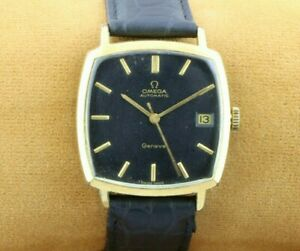 VINTAGE OMEGA BLACK AUTOMATIC SWISS MEN'S WORKING WRIST WATCH EXCELLENT 31.2MM