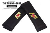 """2x Seat Belt Covers Pads Black Leather """"HP"""" Embroidery for Lancia"""