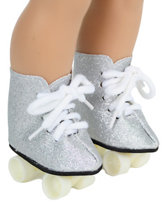 """Roller Skates Silver Glitter made for 18"""" American Girl Doll Clothes"""