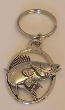 Fine English Pewter Walleye / Zander Keyring Key Chain Fish