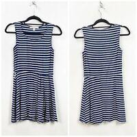 Boston Proper Medium Womens Blue White Striped Sleeveless Dress