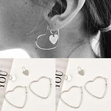 2 Pair Women Hoop Silver Double Heart Earrings Dangle Hollow Ear Studs