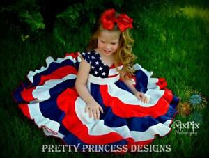 Red, White, Blue. 4th of July Pageant Twirl Dress, Custom Boutique, Patriotic