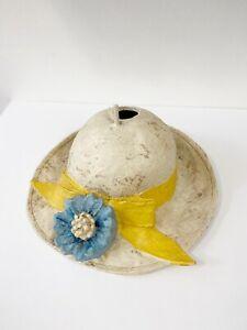 Helena Frost Fiberglass Handmade Hat Birdhouse Ivory Blue Yellow Flower
