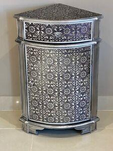 Blackened Silver Metal Embossed Corner Cabinet Cupboard Embossed Sideboard
