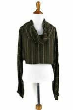 FREE PEOPLE Top XS Brown Striped Cropped Cowl Neck Top Jacket NWT $108