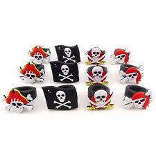 12pk Rubber Pirate Rings Skull & Crossbones Halloween Trick or Treat favors