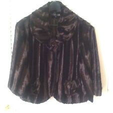 Collection by Harve Benard Evening Faux-Fur Dark Brown Swing Jacket, Size 4