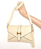 BORSELLO BEIGE AVORIO ORO donna borsa borsetta pochette eco pelle tracolla A20