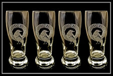Celtic Raven Beer Glass Set of 4 - Free Personalized Engraving, Etched Glass