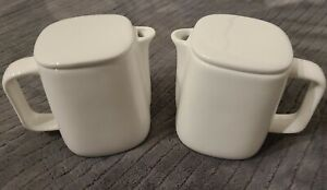 Lot of 2- ALESSI For DELTA White Creamer Milk with Lid # 044207712 New