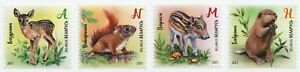 Belarus 2021. Wild Baby Animals: Roe deer, Squirrel, Piglet, Beaver. MNH**