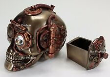*** HIDDEN TRINKET BOX STEAMPUNK INDUSTRIAL AGE Human Skull Statue Bronze Color