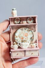Dollhouse Miniatures ~ Bespaq Porcelain Tea Set on Painted Wall Shelf, Signed