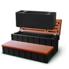 Hot Tub Pool Steps Redwood Spa Storage Outdoor Bin Removable 300 lbs. Capacity