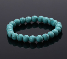 UK Beautiful Turquoise Crystal Gemstone Bracelet.Beads.Beaded.Men Woman
