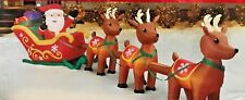 NEW GIANT 16FT LONG SANTA CLAUS SLEIGH 3 REINDEER PRESENTS INFLATABLE BY GEMMY