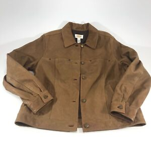 Talbots Womens Brown Leather Jacket Button Up Size Medium