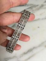 1930's Antique Filigree Art Deco Solid 925 Silver Vintage Sapphire & CZ Bracelet