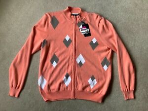 Women's Glenmuir Lined Coral full zip Sweater Size L New