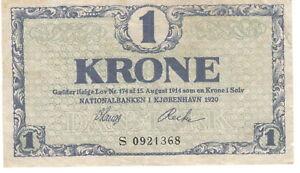 Danmark Denkmark 1 krone 1920
