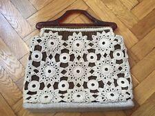 handmade crochet doily macrame handbag vintage yellow interior medium size