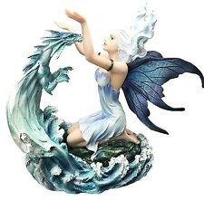 "Large 10.5"" Height Elemental Fairy Summoning Water Dragon Figurine Fantasy"