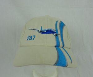 Boeing 787 Dreamliner 100% Cotton Baseball Cap Hat ~ Beige & Blue ~ Adjustable