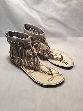 Nearly New Sam Edelman Griffen Woman's Leather Ivory Leather Fringed Sandals