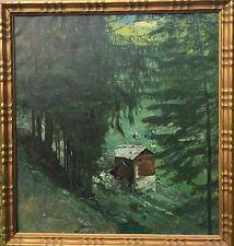 Tillberg Harald 3 Personen Heuernte Gebirgsmühle prämiertes Gemälde wohl Schweiz