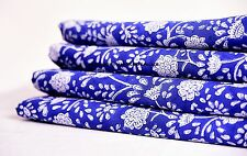 10 Yard Indian Blue Indigo Hand Block! Print Cotton`Fabric Dressmaking -Sewing