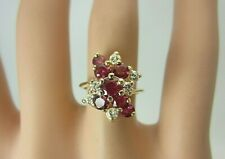 14k Yellow Gold Ruby and Diamond Ring Cluster 1.46 CT TW