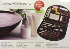 Ladies 18 Piece Travel Manicure Pedicure Nail Set Scissors Tweezers Mirror Brush