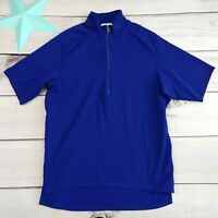 Pearl Izumi Men's Size L Large Cycling Jersey Top Blue Stretch Zip Active