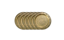 Old Dutch Antique Brass Plated Golden Metallic Round 13 in. Charger Plates Set