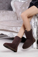 Women Ladies Real Leather Winter Warm Ankle Snow Boots Fur Lined Flat Shoes Size