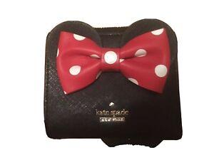 Kate Spade x Minnie Mouse Leather Mini Wallet ~ Adalyn Black Bow Polka Dot NWT