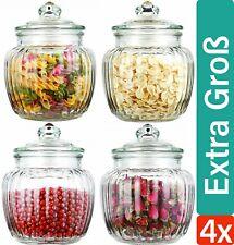 4 Vorratsdosen mit Deckel Glas 1,5L Vorrats Gläser Bonboniere Bonbon Dosen Groß