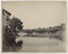 c.1860's PHOTO INDIA BOURNE - BRIDGE OF SHOPS SRINAGAR KASHMIR