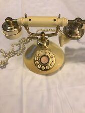 Vintage Pale Yellow Princess Phone Telephone Brass Push Button