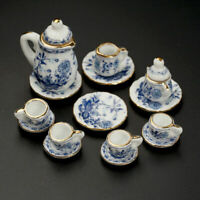 15Pcs Dining Ware Ceramic Blue Flower Set For 1:12 Miniatures Dollhouse W9Y6