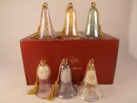 Lenox Set of 6 Crystal Bells Tree Ornaments in Assorted Colors Christmas Holiday