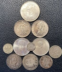 11 Coin Lot of World Silver Coins as Shown in Pictures   1800s And 1900s