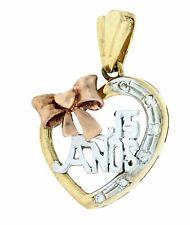 14k 3 Tone Gold Sweet 15 Anos Heart CZ Pendant Charm Dije Corason Oro 29x18mm