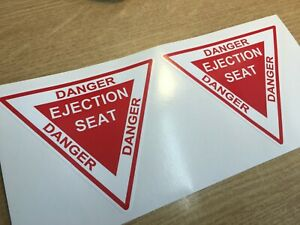 X2 Danger Ejection Seat Sticker Decal 100mm x 90mm.