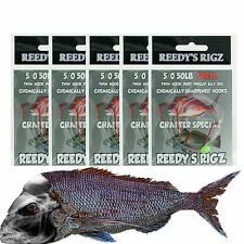 5 Snapper Rigs 5/0 Suicide Fishing Hook Rig Snell Tied 50Lb Running Big Bait Red
