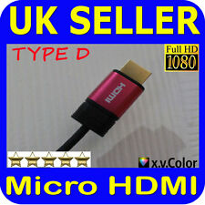 Type D Micro HDMI Jack Male to Standard HDMI Cable Leads for HDTV TV Tablets