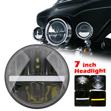 7Inch LED Headlight Hi/Lo Beam DRL Turn Signal White Amber Projector Headlamp